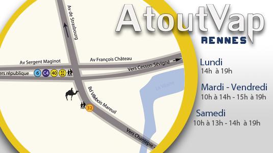 Horaires de la boutique AtoutVap à Rennes